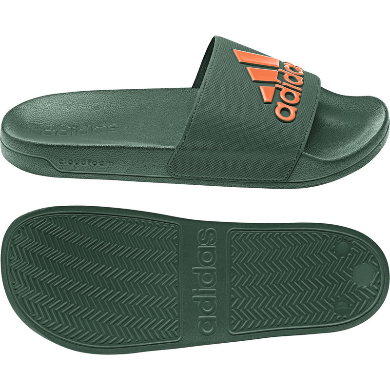 Miami Hurricanes adidas Adilette Shower Slides - Green/Orange