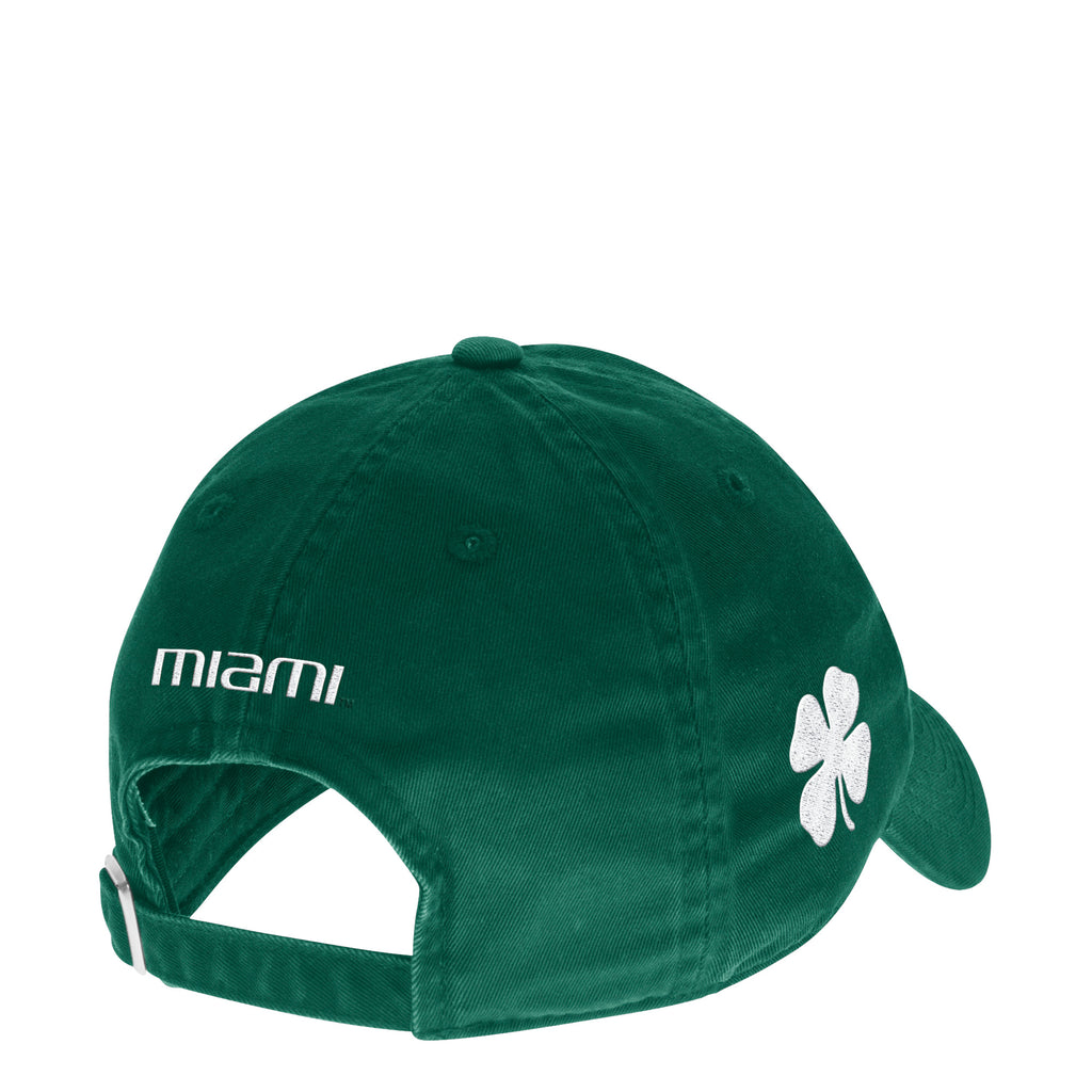 Miami Hurricanes adidas Slouch Old English Baseball Adjustable Hat - Green with Four Leaf Clover