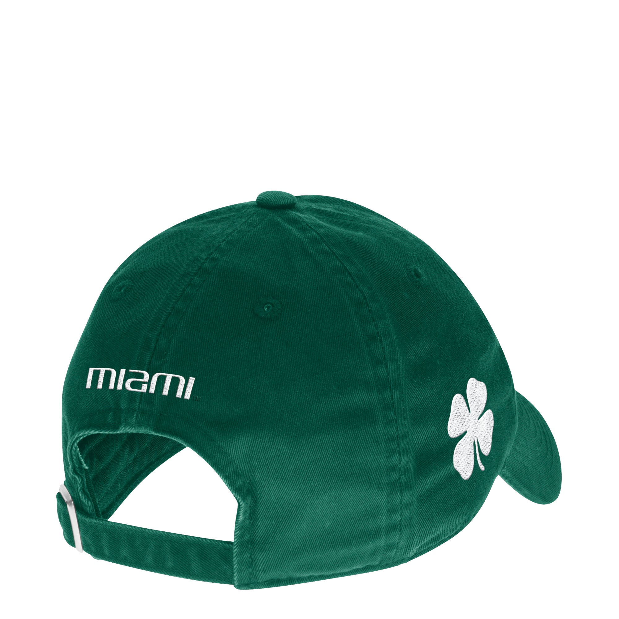 new arrival 0f2bc 3320b Miami Hurricanes adidas Slouch Old English Baseball Adjustable Hat - Green  with Four Leaf Clover