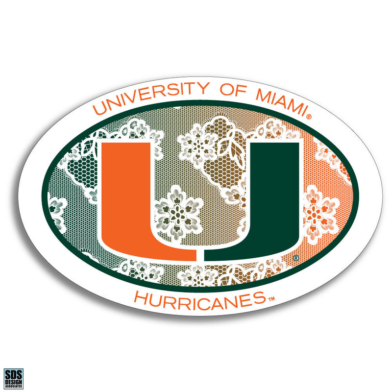 "Miami Hurricanes Euro Lace with U logo Decal 6"" - CanesWear at Miami FanWear Decals & Stickers SDS Design Associates CanesWear at Miami FanWear"