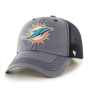 Miami Dolphins Trailway Closer Navy 47 Brand Stretch Fit Hat - CanesWear at Miami FanWear Headwear 47 Brand CanesWear at Miami FanWear