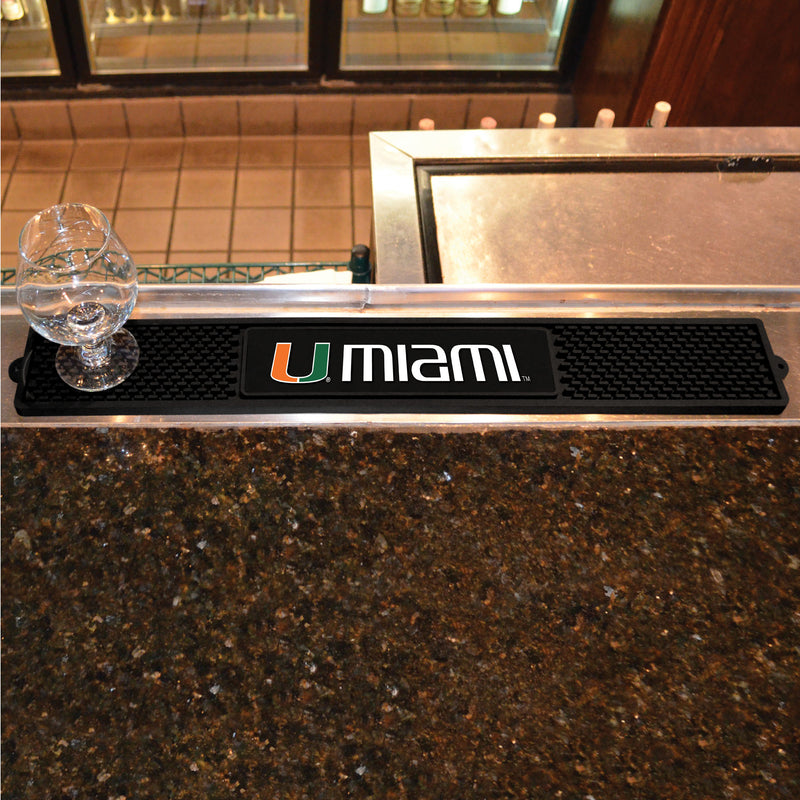 Miami Hurricanes Rubber Drink Mat - Black