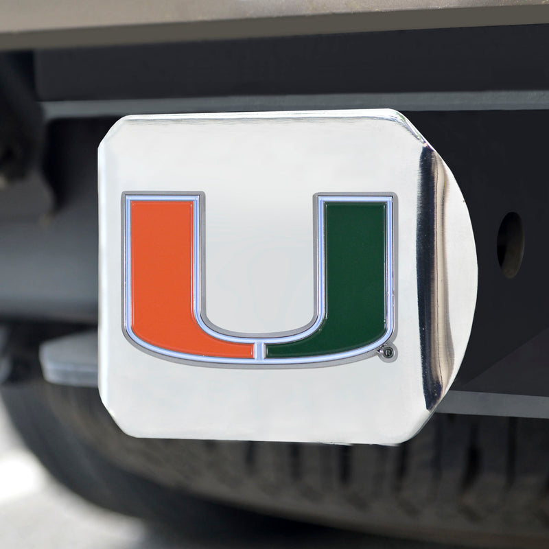 Miami Hurricanes Heavy Duty  Color Hitch - Chrome