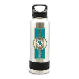 MIAMI DOLPHINS SS STAINLESS STEEL DOUBLE WALL INSULATED THERMO WATER BOTTLE - 40 OZ