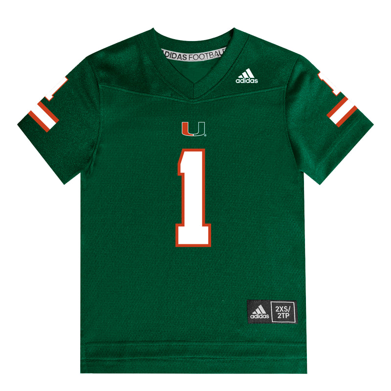Miami Hurricanes adidas 2020 Toddler and Youth Jersey - Green