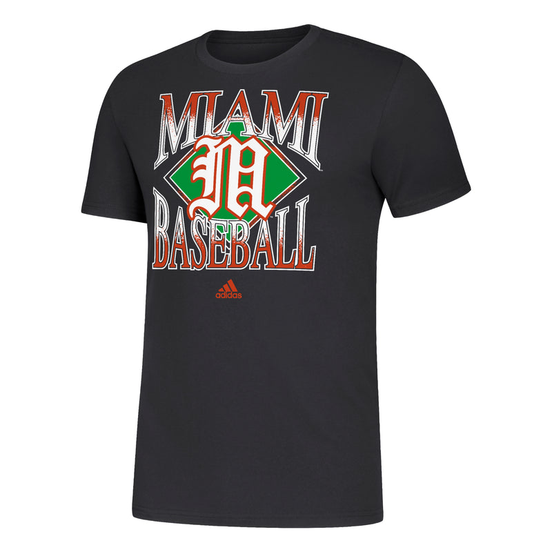 Miami Hurricanes 2020 adidas Men's Baseball Amplifier T-Shirt - Black