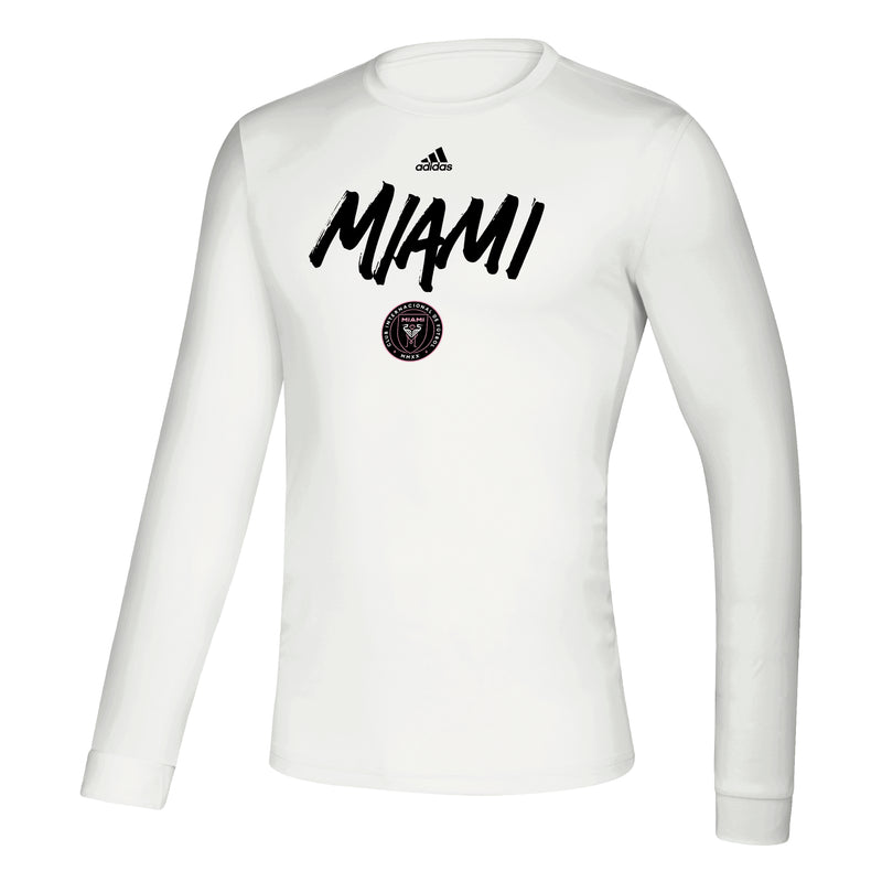 Inter Miami CF Creator LS Men's Wordmark Goals Soccer T-Shirt - White