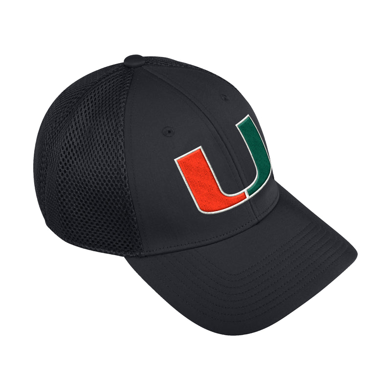 Miami Hurricanes adidas 2020 Coaches Mesh Structured Adjustable Hat - Black