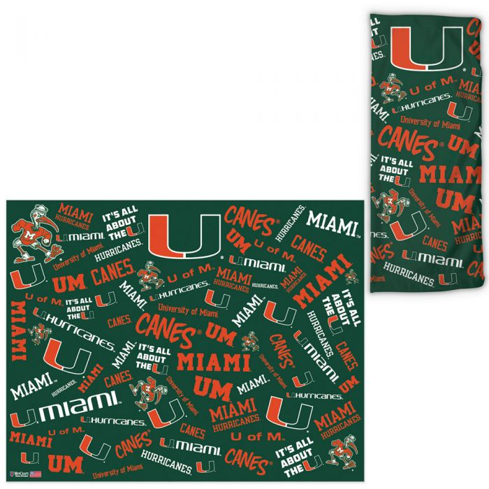 Miami Hurricanes UPF 30 Fan Wrap / Face Gaiter -Scattered Print