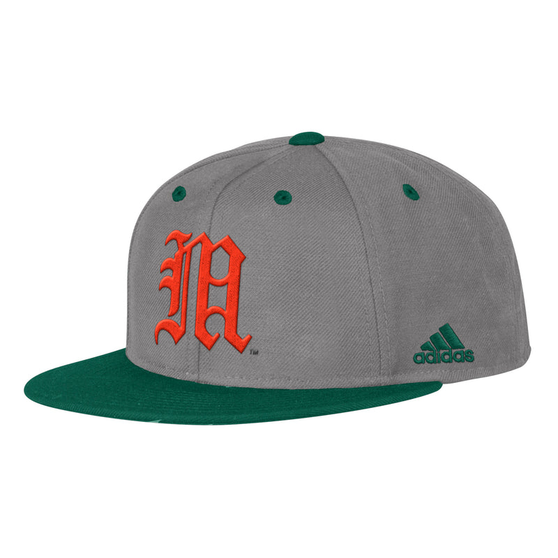 Miami Hurricanes adidas 2019 On Field Fitted Baseball Hat - Grey