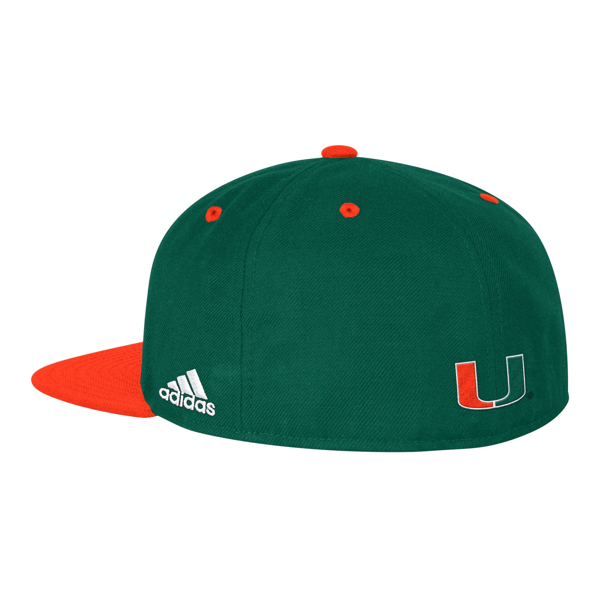 64509e432de75 Miami Hurricanes adidas 2019 On Field Fitted Baseball Hat - Green ...
