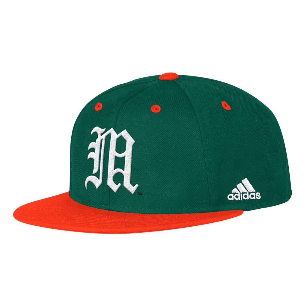 buy online 38f76 6041b ... inexpensive miami hurricanes adidas 2019 on field fitted baseball hat  green caneswear at miami fanwear 9e797