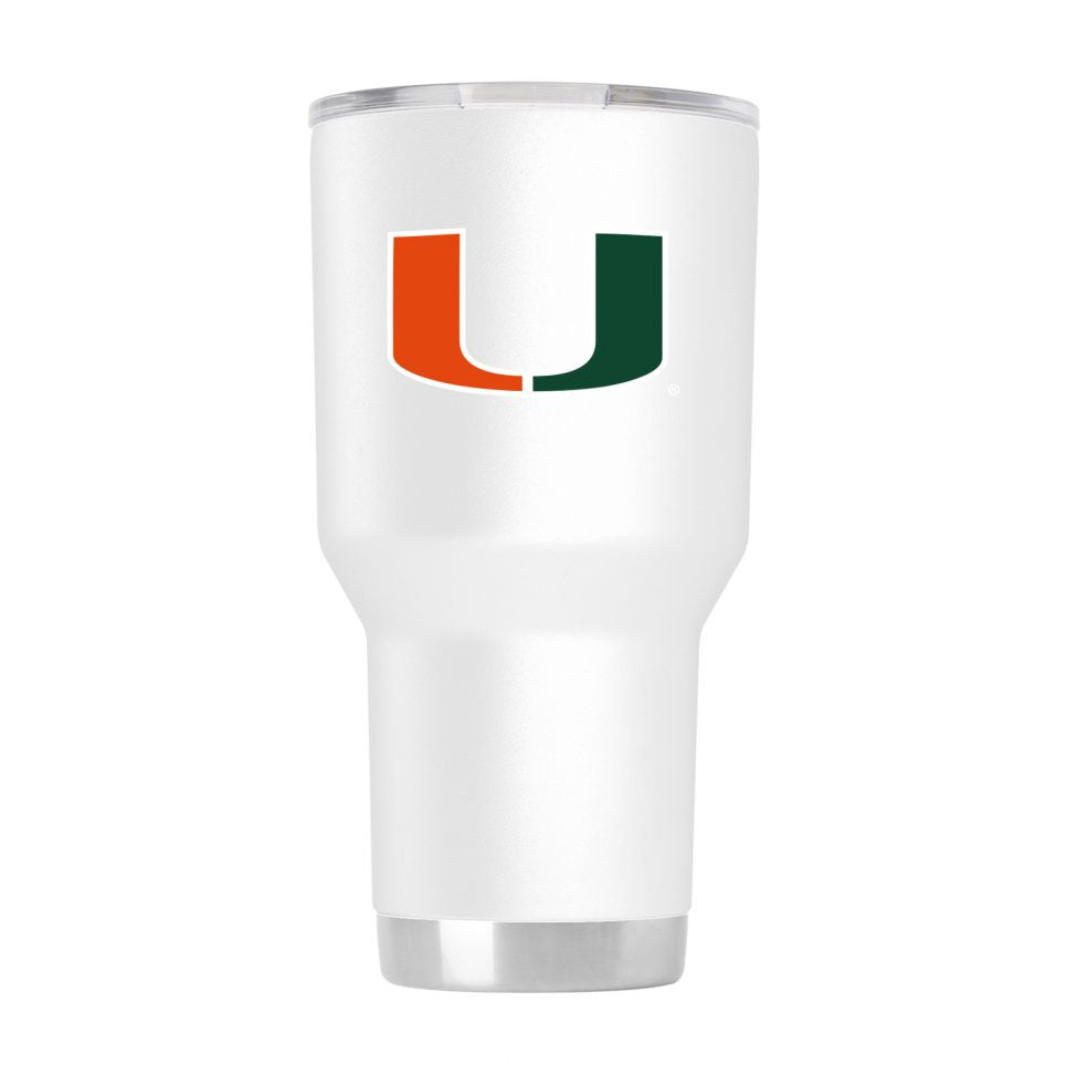 Miami Hurricanes GameTime Sidekicks Powder Coated White Tumbler - 30 oz