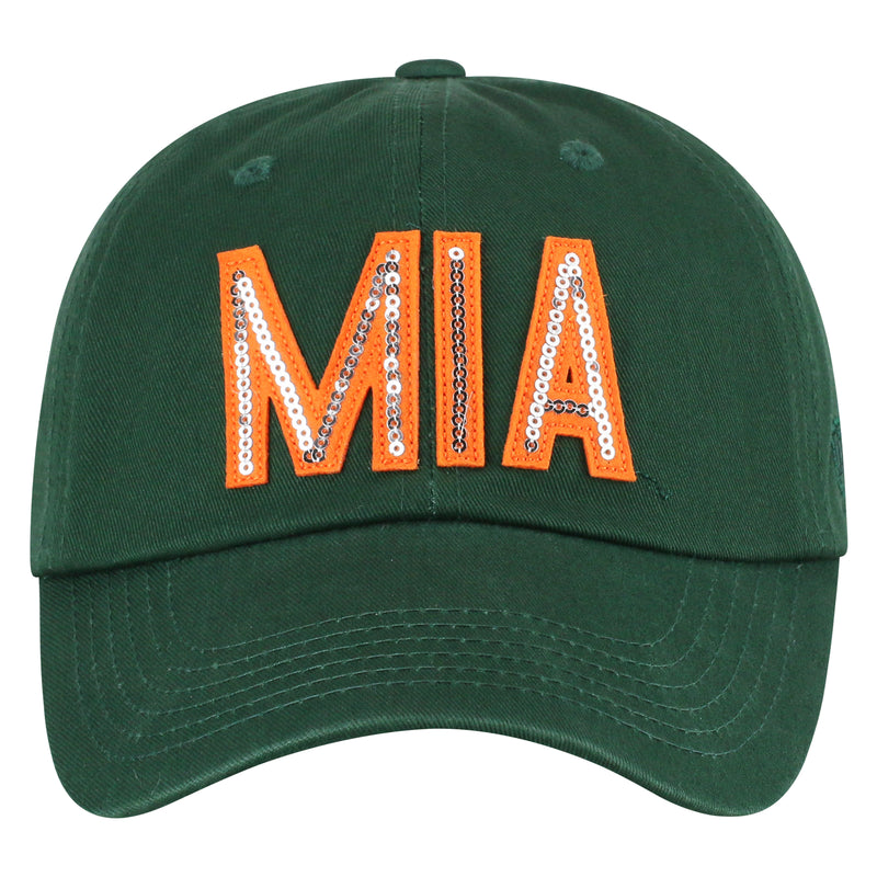 Miami Hurricanes Top of the World Glow District Adjustable Womens - Green