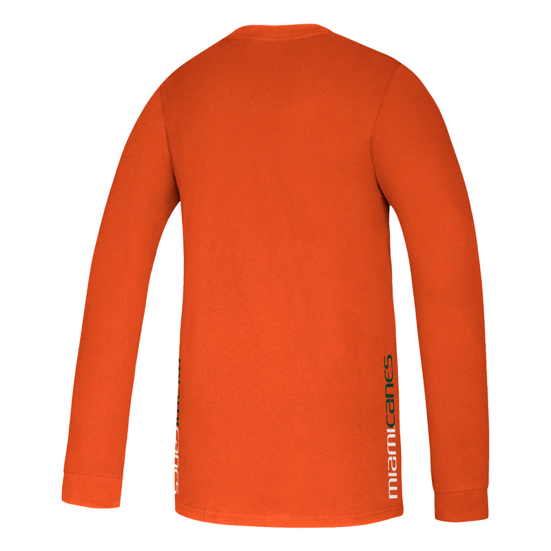 Miami Hurricanes adidas 2020 Youth Locker Side by Side Amplifier L/S T-Shirt - Orange