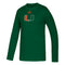 Miami Hurricanes adidas 2020 Youth Locker Side by Side Amplifier L/S T-Shirt - Green