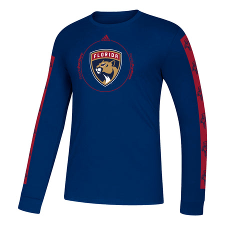 Florida Panthers 2021 adidas Men's L/S Shield Logo Amplifier T-Shirt - Navy Blue