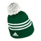 Miami Hurricanes adidas 2020 3-Striped Cuffed Pom Beanie - Green