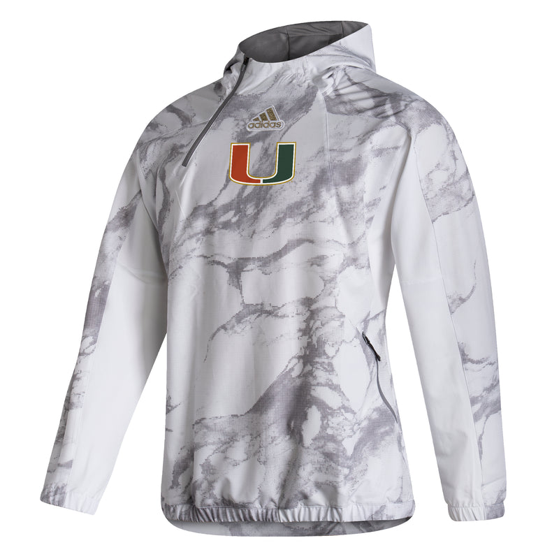 Miami Hurricanes 2021 Sideline Post Season Travel Pullover Hoodie - White Camo