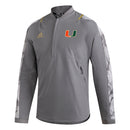 Miami Hurricanes 2021 adidas Post Season Travel Sideline 1/4 Zip - Gray Camo