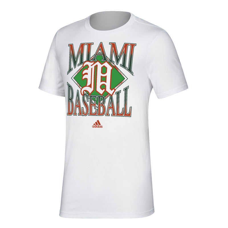 Miami Hurricanes 2020 adidas Men's Baseball Amplifier T-Shirt - White