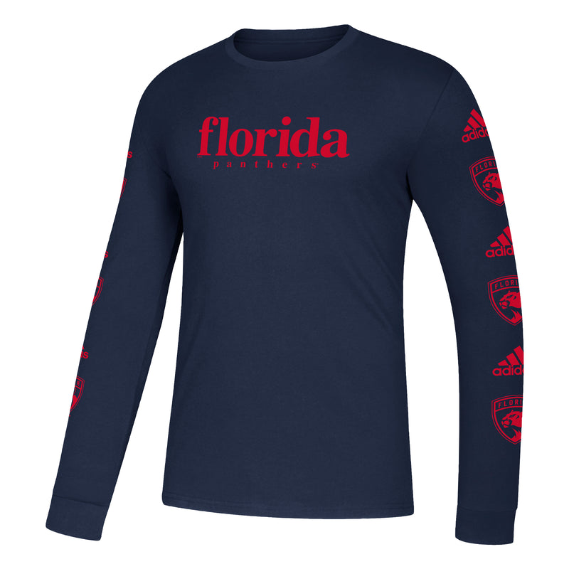 Florida Panthers 2020 adidas Men's L/S HOB Amplifier T-Shirt - Navy Blue