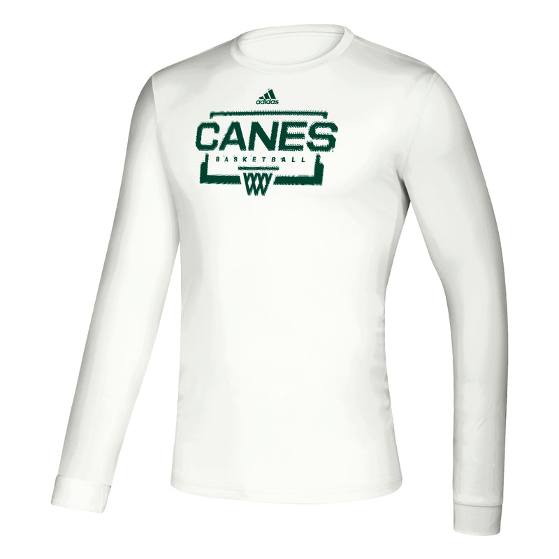 Miami Hurricanes adidas 2020 Canes Basketball Creator L/S T-Shirt - White