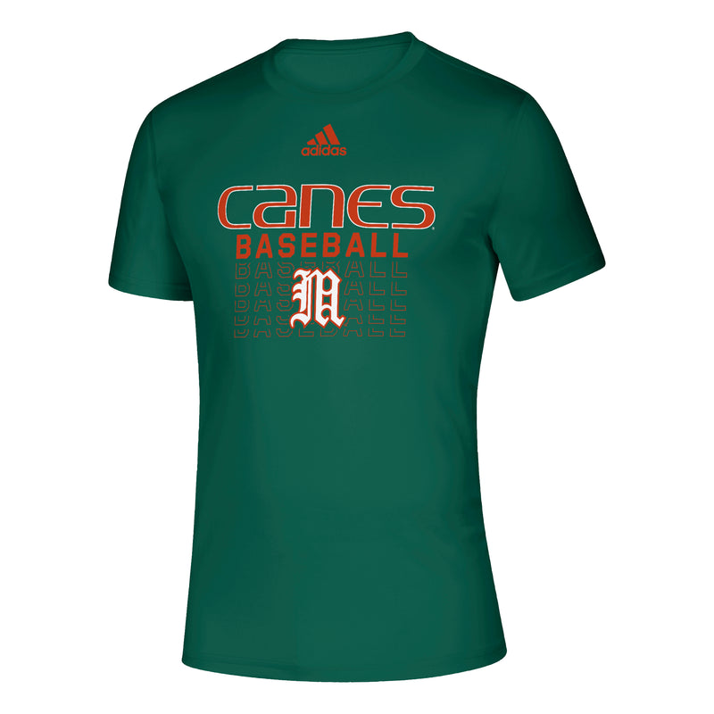 Miami Hurricanes adidas 2021 Canes Baseball Old English M Creator T-Shirt - Green
