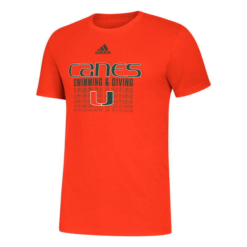 Miami Hurricanes 2021 adidas Swimming and Diving Amplifier SS T-Shirt - Orange
