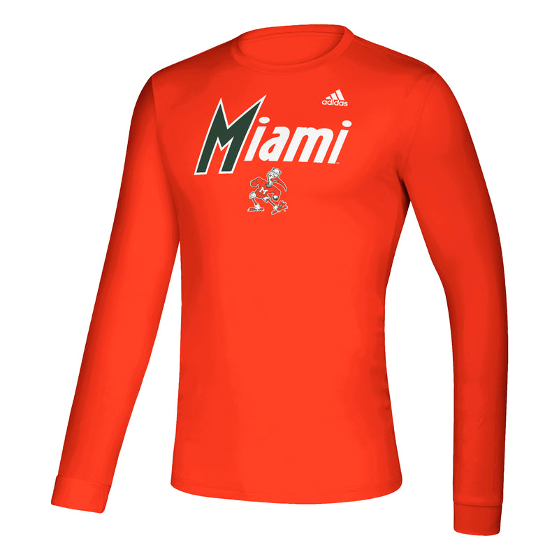 Miami Hurricanes adidas Reverse Retro Basketball L/S Creator T-Shirt - Orange