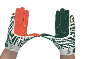 Miami Hurricanes Adizero by Adidas Football Gloves - Green - CanesWear at Miami FanWear Accessories Adidas CanesWear at Miami FanWear