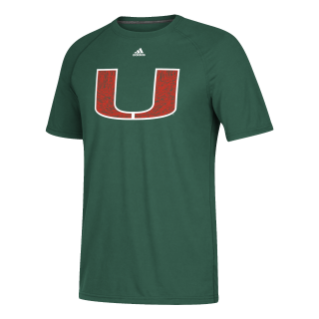 Miami Hurricanes adidas 2017 Men's Go-To Orange U T-Shirt - Green