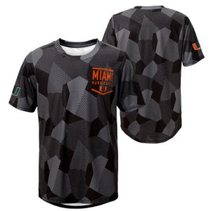 Miami Hurricanes  Youth Stadium Sublimate Dritek S/S T-Shirt -Black/Grey