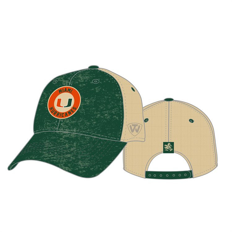 89fc39aee18 Miami Hurricanes Haven Trucker Snapback Slouch Hat - Green ...