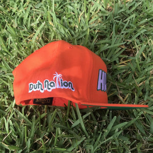 Duh Nation Hungry Hat Flat Brim Snapback - Orange