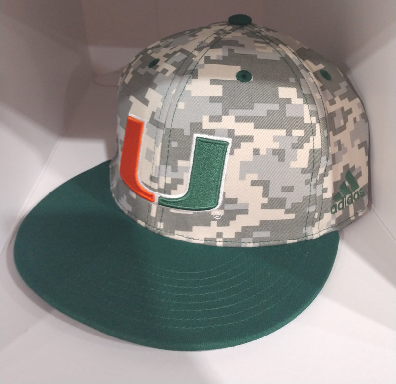 Miami Hurricanes adidas 2020 Digi Camo On Field Baseball Fitted Cap