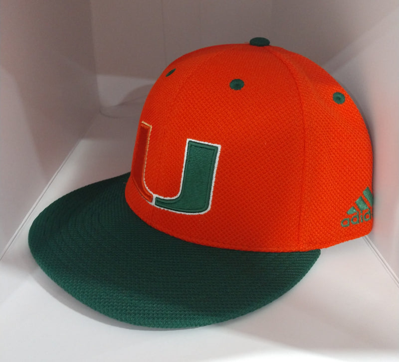 Miami Hurricanes adidas 2019 Fitted Hat Mesh - Orange/Green