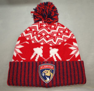 Florida Panthers Winter Themed Cuffed Pom Beanie
