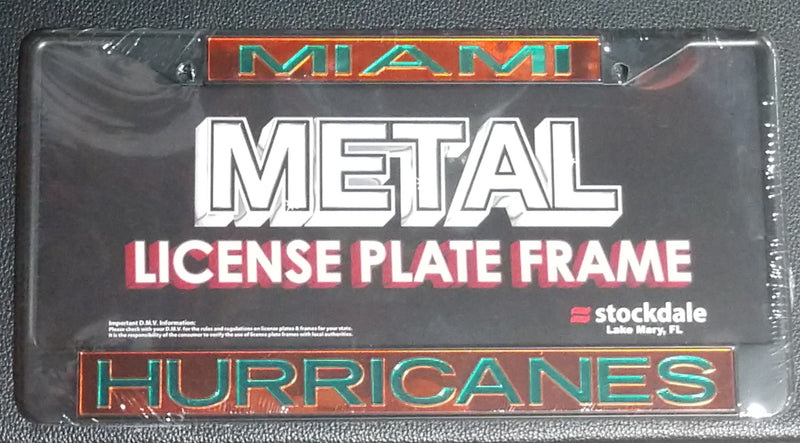 Miami Hurricanes Mirrored License Plate Frame - Black