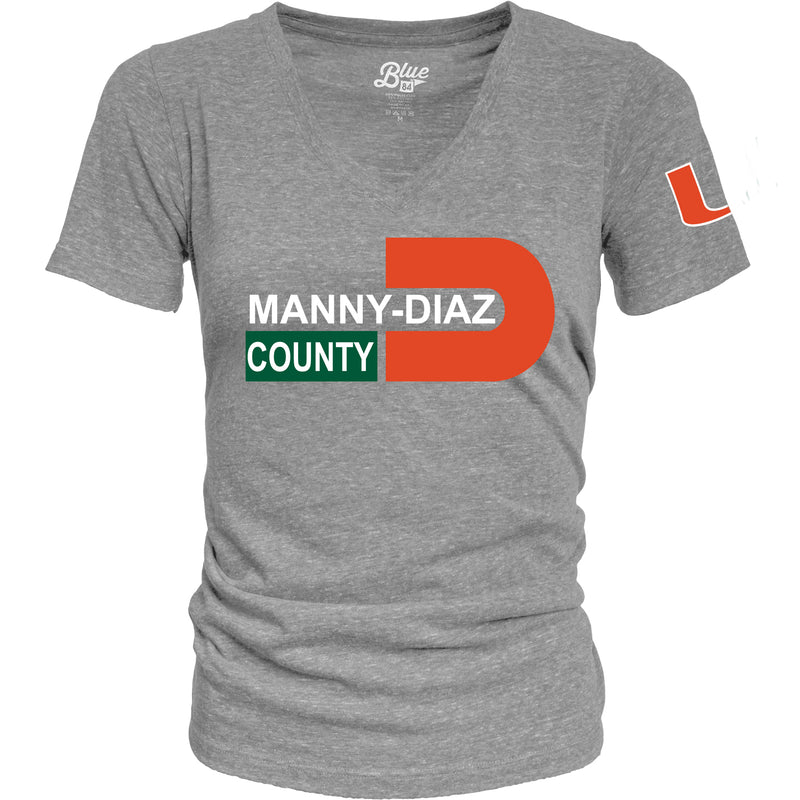 Miami Hurricanes Manny Diaz County Women's T-Shirt - Heather Grey
