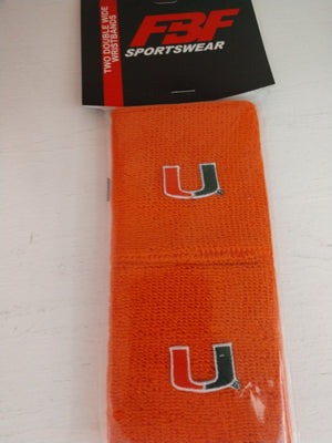 Miami Hurricanes Sweatband Wristbands Double Wide