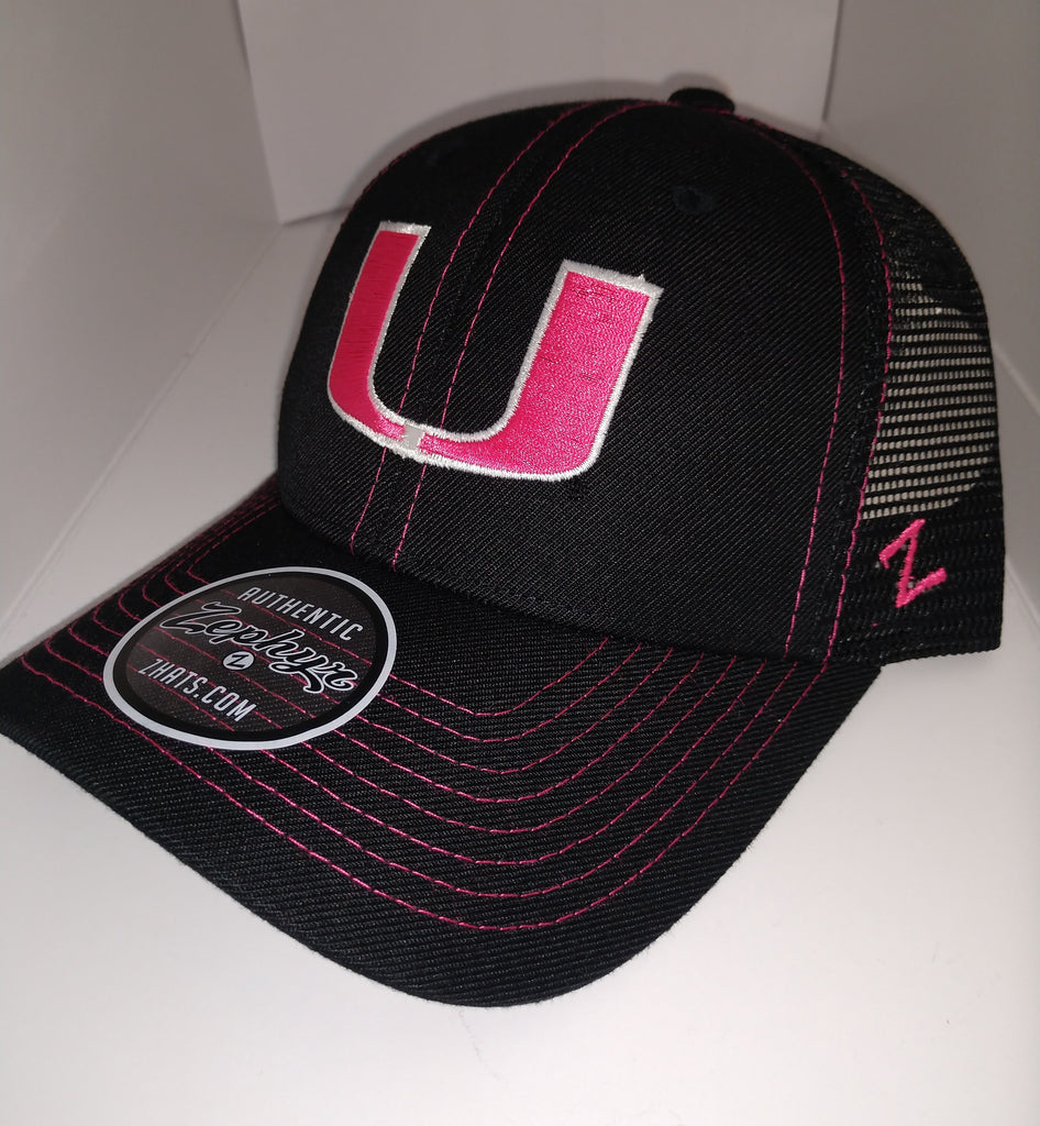 6bca6cd2a3c39 Miami Hurricanes Staple Trucker Blackout Pink U Adjustable Hat ...