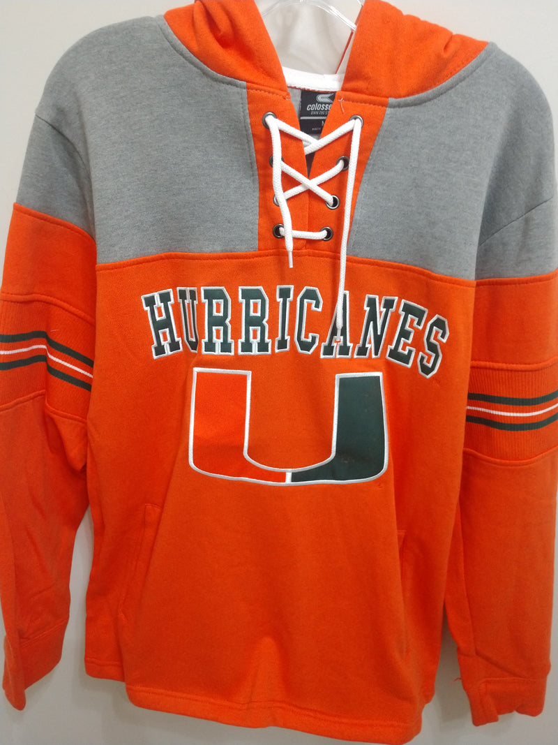 Miami Hurricanes Men's Ice Hockey Pullover Hoodie - Orange/Heather Grey