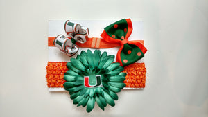Miami Hurricanes Crochet Headband Gift Set with bows