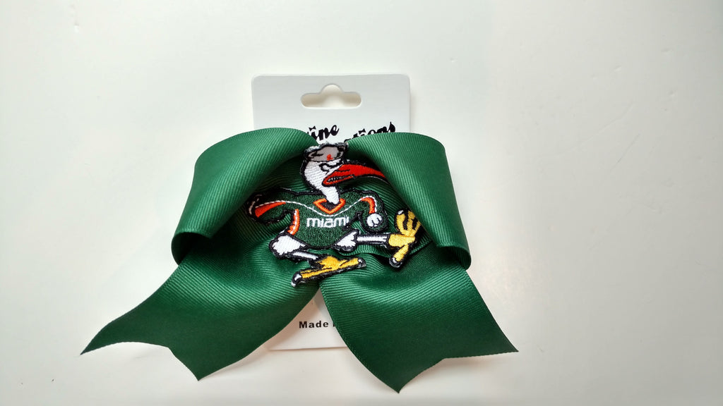 Miami Hurricanes Cheer Bow - Green - CanesWear at Miami FanWear Jewelry Divine Creations CanesWear at Miami FanWear