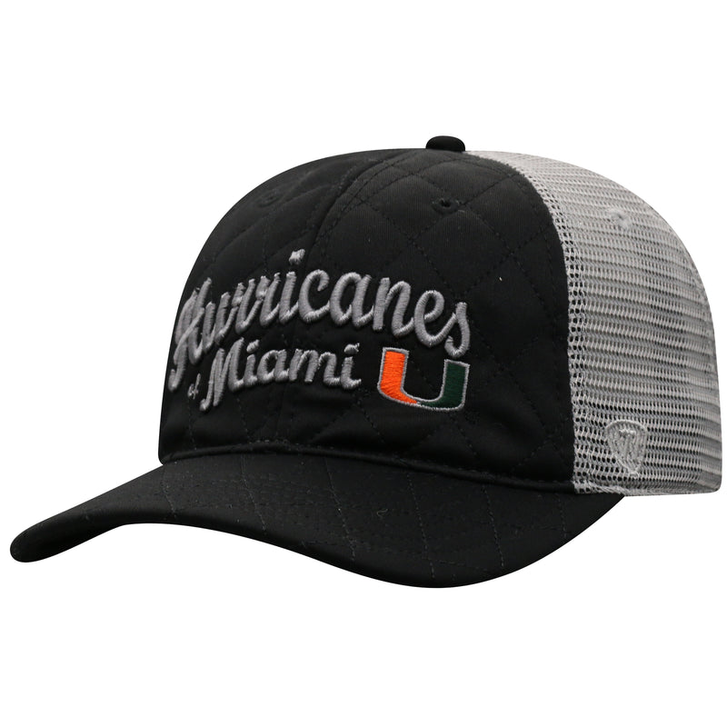 Miami Hurricanes Women's Top of the World Inflate Adjustable Hat- Black/Grey