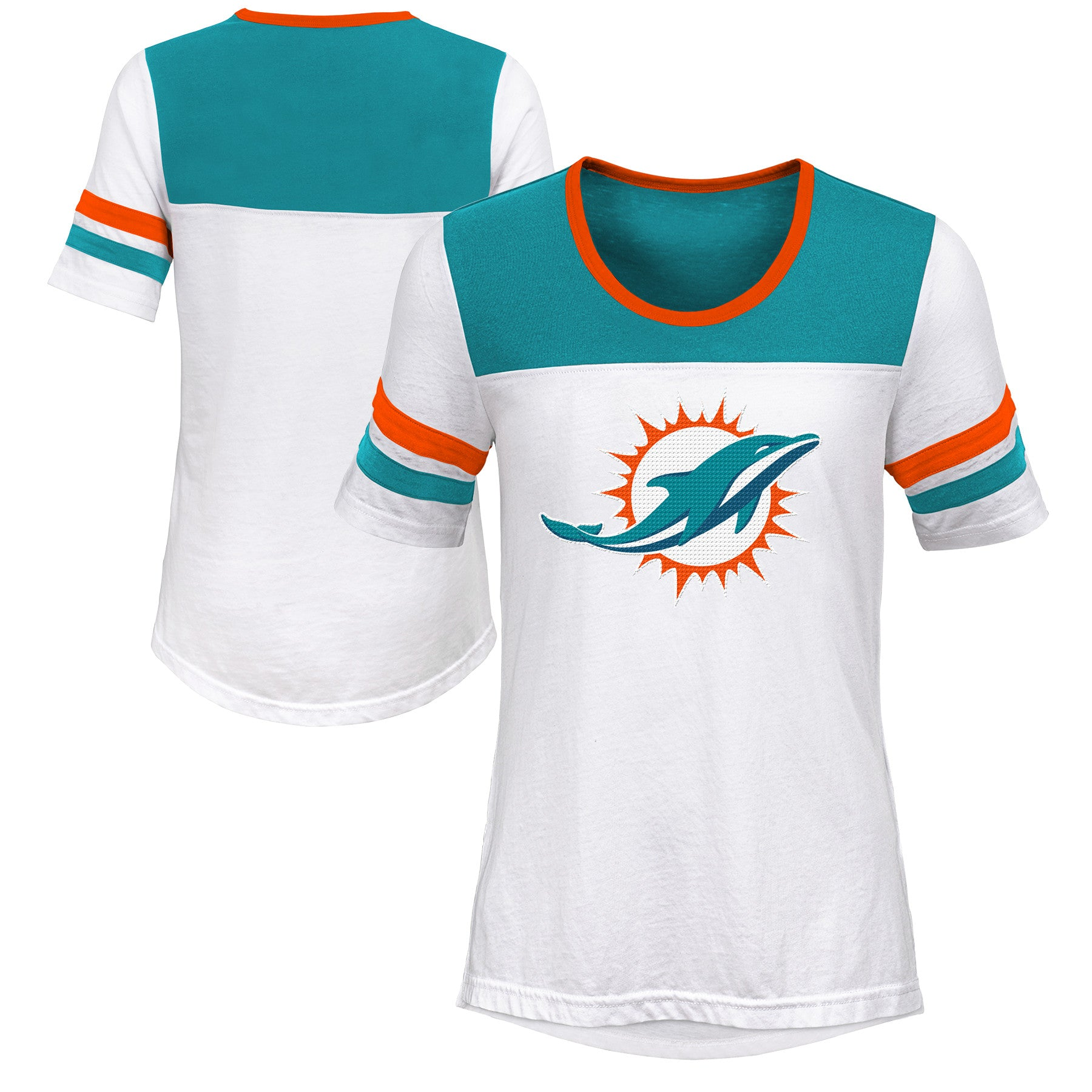 f4bc6ff46d2c1 Miami Dolphins Girls Sequin Logo T-Shirt - White – CanesWear at Miami  FanWear