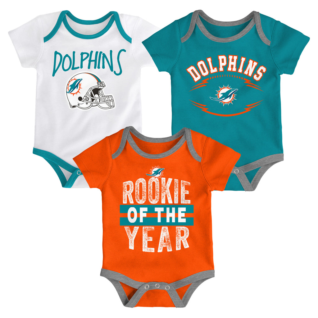 Miami Dolphins Infant Rookie of the Year Onesie 3 Piece Set