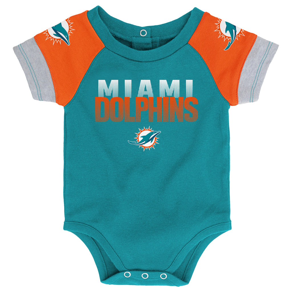 Miami Dolphins 3 Piece Creeper Set with Bib and Booties