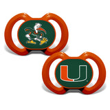 Miami Hurricanes Orthodontic Pacifier - 2 Pack